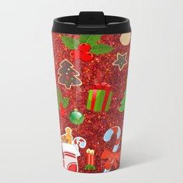 Cute Christmas Mix, red Metal Travel Mug