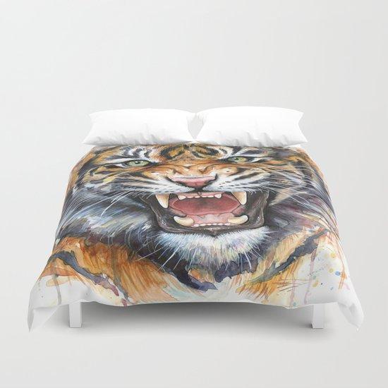 Tiger Watercolor Wild Animal Jungle Animals Duvet Cover