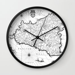 Vintage Map of Sicily Italy (1600s) BW Wall Clock
