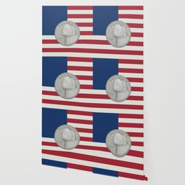 In Pug We Trust - Coin on USA flag Wallpaper