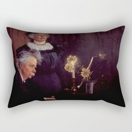 Edvard Grieg (1843 – 1907) accompanying his wife by Peder Severin Kroyer (1851-1909) Rectangular Pillow