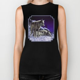 Night Watch Wolves in Snow Biker Tank