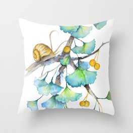 Ginkgo and A Snail Throw Pillow