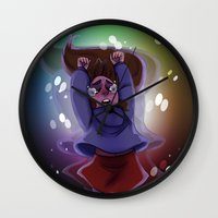 gravity falls Wall Clocks featuring Gravity Falls- Floating by Welcoming-Meg