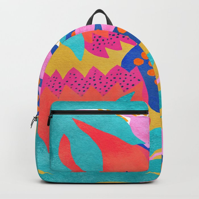 Bold Flower Pattern Yellow Background Backpack