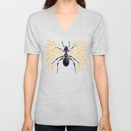 Winged Ant Fiery Orange Unisex V-Neck
