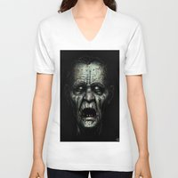 zombie V-neck T-shirts featuring Zombie by Havard Glenne