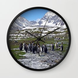 King Penguins, Snow and Glaciers Wall Clock