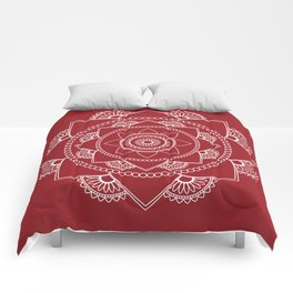 Mandala 01 - White on Burgundy Comforters
