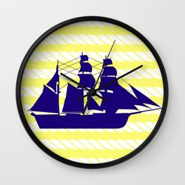 Blue Ship with Yellow Ropes Wall Clock