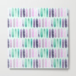 Love More Crystals Collection in Mint; Amythest, Rose Quartz, Calcite, Fluorite Metal Print