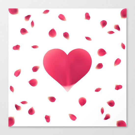 Rose Petal Heart Canvas Print