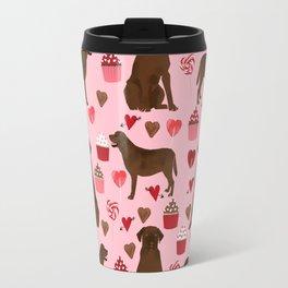 Chocolate Labrador Retriever valentines day cupcakes love hearts dog gifts labs Travel Mug