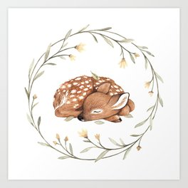 Wildflower Fawn Art Print