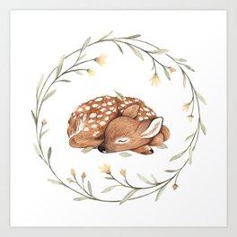 Wildflower Fawn Art Print