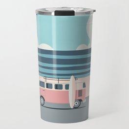 Surfer Graphic Beach Palm-Tree Camper-Van Art Travel Mug