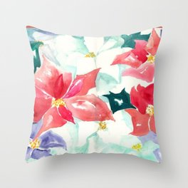 Poinsettia Cheer Throw Pillow