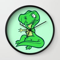 trex Wall Clocks featuring T-Rex Booger by Artistic Dyslexia