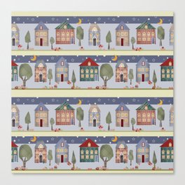 Kids patchwork seamless pattern with houses and trees Canvas Print