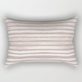 Simply Shibori Stripes Lunar Gray on Clay Pink Rectangular Pillow