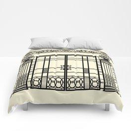 ART DECO, ART NOUVEAU IRONWORK: Black and Cream Comforters