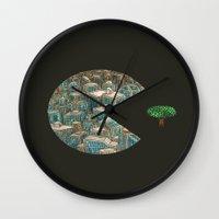 pacman Wall Clocks featuring Pacman by gunberk