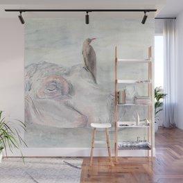"Watercolor Painting of Picture ""Hippopotamus"" Wall Mural"