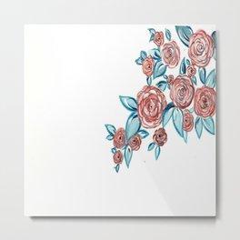 Navy & Blush Floral Metal Print