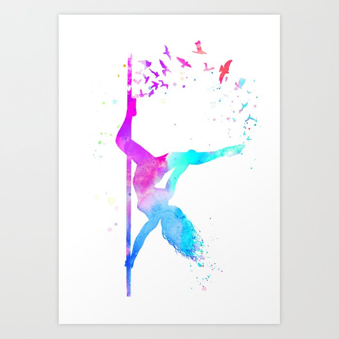 watercolor pole dance  Kunstdrucke