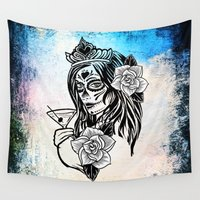martini Wall Tapestries featuring bw sugarskull by haroulita