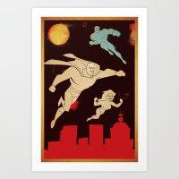 superheroes Art Prints featuring Superheroes by Fat Knack