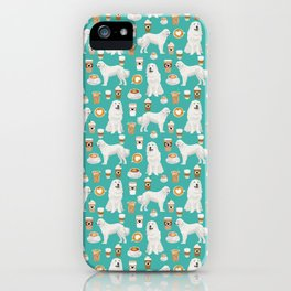 Great Pyrenees coffee lover pattern print gifts for dog breed unique dog person iPhone Case