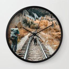 Autumn Tracks // Backpacking the Railroad Fall Tree Landscape with Black Dog Wall Clock