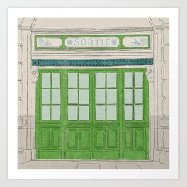 Sortie - Vintage Style Illustrated Building Front from Lyon, France Art Print