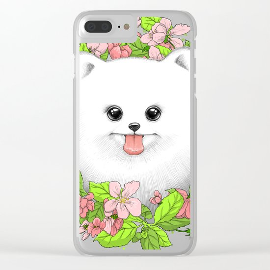 Pomeranian in flowers Clear iPhone Case