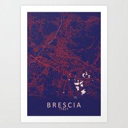 Brescia, Italy, Blue, White, City, Map Art Print