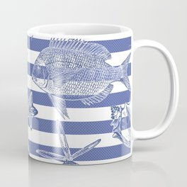 Sea things, blue striped design Coffee Mug