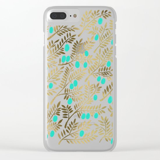 Gold & Turquoise Olive Branches Clear iPhone Case