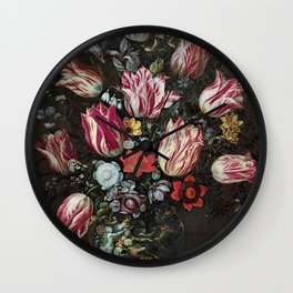 Andries Daniels and Frans Francken the Younger - Vase with Tulips Wall Clock