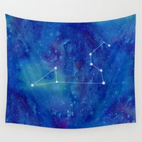 leo Wall Tapestries featuring Constellation Leo by ShaMiLa