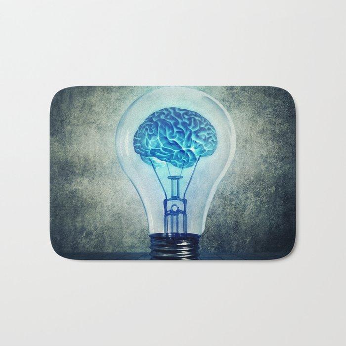 lightbulb brain shining Bath Mat
