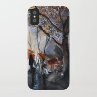 autumn iPhone & iPod Cases featuring Autumn rain - watercolor by Nicolas Jolly
