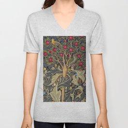 William Morris Woodpecker, Fruit Tree & Poppy Flower Garden Tapestry Textile Floral Print Unisex V-Neck