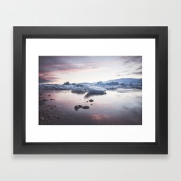 Sunset over Glacier Lagoon - Landscape and Nature Photography Framed Art Print
