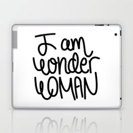 Woman power inspiration quote in black and white Laptop & iPad Skin