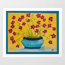 Red Flowers Blue Vase Art Print