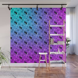 Black Unicorn Pattern (Blue & Pink) Wall Mural
