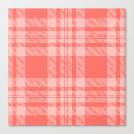 Living Coral Gingham Pattern Canvas Print