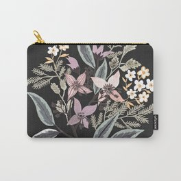 Summer Flowers On Black Carry-All Pouch