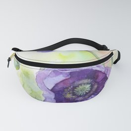 Watercolor blue poppy flowers Fanny Pack